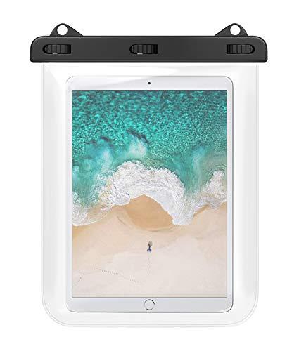 防水ケース HeySplash 防水カバー タブレット 12インチ以下 タッチパネル操作可 iPad Air 4 2020 10.9、iPad Pro 11 2020/2018、iPad Air 3 10.5、Surface Go 2 10.5、HUAWEI MatePad 10.4 ビニール防水ケース IPx8 首掛け式 3点ロック ストラップ付き お風呂 プール 水泳 砂浜に 透明