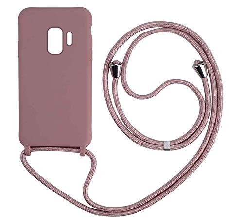 MEIVS Funda Compatible con Samsung Galaxy S9, Ajustable Collar Correa de Cuello CordónCarcasa de Silicona-Loto Color