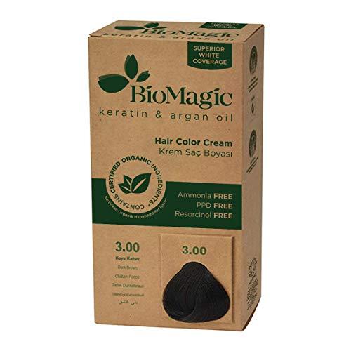 BioMagic Permanente Haarfarbe, Keratin & Arganöl-Linie, Ammoniakfreies Haarfärbemittel, Enthält zertifizierte Bio-Zutaten, Haarfärbung für einen natürlichen Look (3.00...