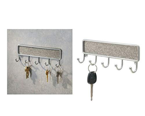 InterDesign Twillo Ganchos para Colgar Llaves, Porta Llaves de Pared pequeño con 5 Ganchos de Metal y plástico, Ganchos para el baño, Plateado