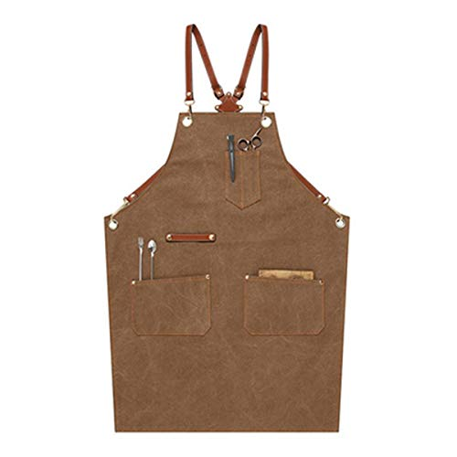 Men's and Women's Handmade Denim Bib Apron Leather Neck Belt Chef Kitchen Barbecue Tool Pocket Apron Brown Craft Workshop Garage Pastry Bakery Apron