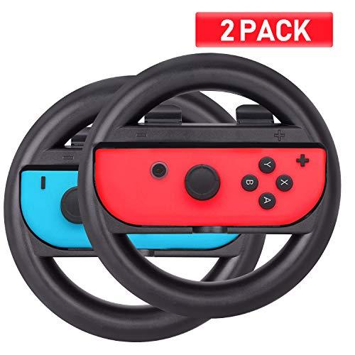 Aderência de volante para jogos de corrida – Adequado para volante Nintendo Switch Mario Kart, Joy-Con, azul e preto (pacote com 2)