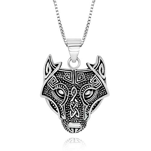 925 Sterling Silver Vikings Celtic Wolf Head Pendant Necklace 18' for Woman, Teen