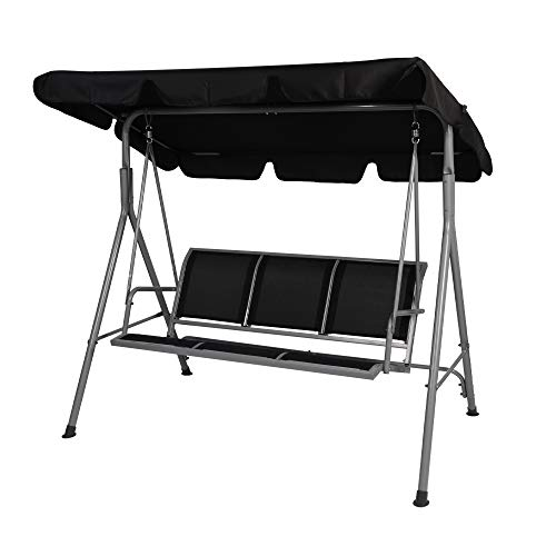 LUCKYERMORE 3 Person Patio Swing with Convertible...