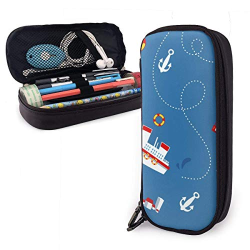 Pencil Case Pen Bag Cute Steamship Town Aircraft Anchor Dotted Line Pencil Case, Large Capacity Pen Case Pencil Bag Stationery Pouch Pencil Holder Pouch with Big Compartments