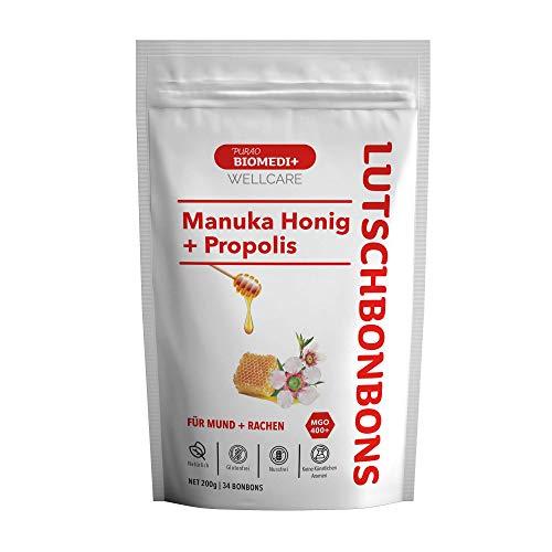 Purao Biomedi+ Manuka Honig Bonbons MGO 400 + mit Propolis wohltuend für Mund und Hals - 34 Bonbons ( 200 g ) im wiederverschließbarem Beutel - aus Neuseeland
