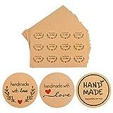 Ouceanwin - 540 unidades autoadhesivas redondas con amor, hechas a mano, etiqueta, papel vintage, pegatinas de regalo para hornear, bolsas de regalo de boda