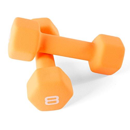 CAP Barbell Neoprene Coated Dumbbell Weights (Orange 8 LB - Pair)