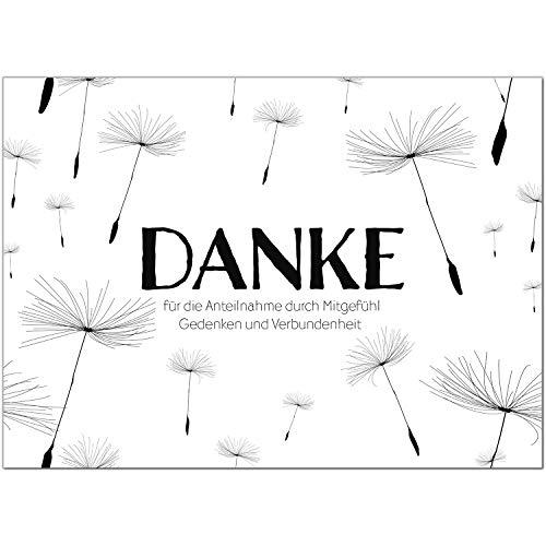 Trauer Danksagungskarten mit Umschlag | Motiv: Zarte Pusteblumen, 15 Stück | Dankeskarten DIN A6 Set | Trauerkarten Danksagung Danke sagen