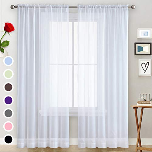 Basic Rod Pocket Sheer Voile Window Curtain Panels White 1 Pair 2 Panels 9 Colors Beige Grey Purple Yellow Pink 9 Size Width 52 Long 63 72 84 95 108 inch for Kitchen Bedroom Children Living Room Yard…