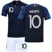 LJP - Equipación de la selección francesa de 2018 con dos estrellas de campeones (camiseta y pantalones cortos), Copa del Mundo de Fútbol, Federación Francesa de Fútbol, Chico, color no.10, tamaño 18