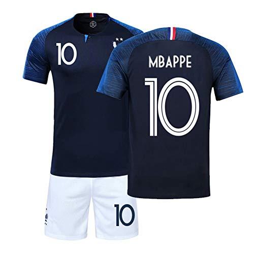 LJP - Equipación de la selección francesa de 2018 con dos estrellas de campeones (camiseta y pantalones cortos), Copa del Mundo de Fútbol, Federación Francesa de Fútbol, color no.10, tamaño 26