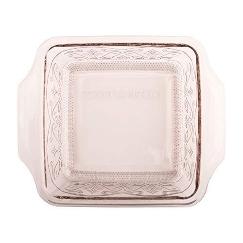 Anchor Hocking Square Baking Dish - Glass - 8 x 8 - Embossed - Rose