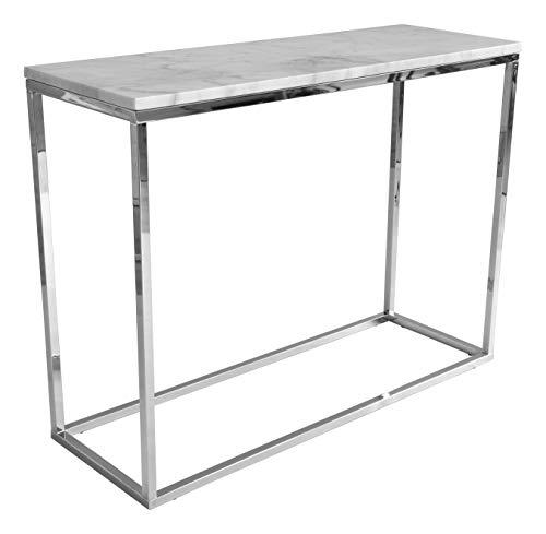 RGE Accent Konsolentisch Marmor, Tischplatte: Weiß, marmoriert, Gestell: Chrom, B 100 cm, H 75 cm, T 35 cm