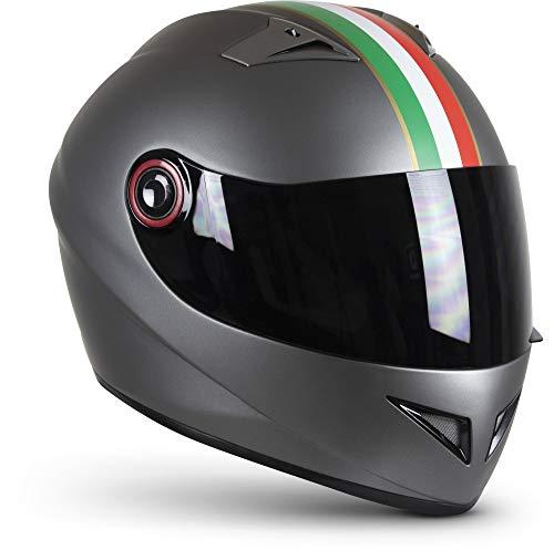 "SOXON® ST-666 ""Imola Titan"" · Integral-Helm · Full-Face Motorrad-Helm Roller-Helm Scooter-Helm Cruiser Sturz-Helm StreetFighter-Helm · ECE 22.05 Visier Schnellverschluss Tasche S (55-56cm)"