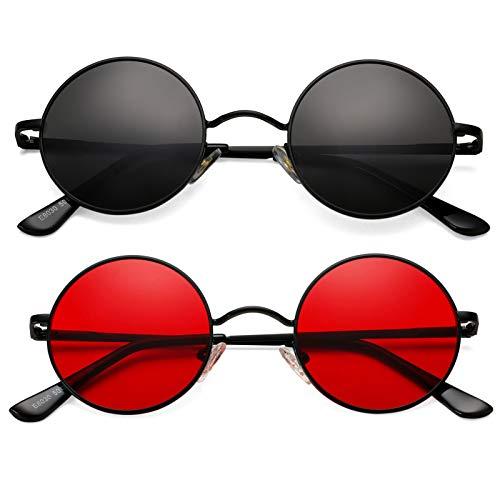 John Lennon Style - Gafas de sol polarizadas redondas pequeñas para mujeres y hombres, marco de metal retro círculo hippie gafas de sol 2 unidades