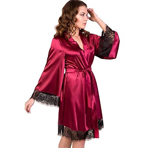 Dorical Damen Morgenmantel Maxi Lang Seide Satin Kimono Kleid Einfarbiger Bademantel Damen Lange Robe Reine Farbe Schlafmantel Nachthemd Nachtkleid Spitze Nachtwäsche mit Gürtel(Small,Wein)