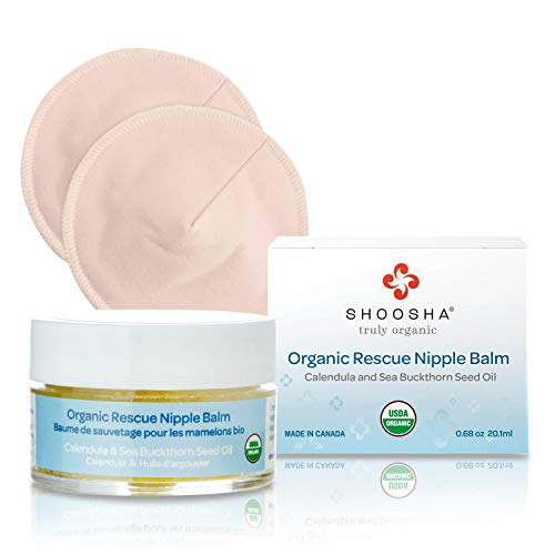 SHOOSHA Rescue Nipple Balm, 0.68 oz USDA Organic Nipple Cream for Breastfeeding w/Bonus Nursing Pads, Nipplecream w/ 1 Pair Nipple Shields, Postpartum Care Breast Feeding Essentials, Nipple Butter