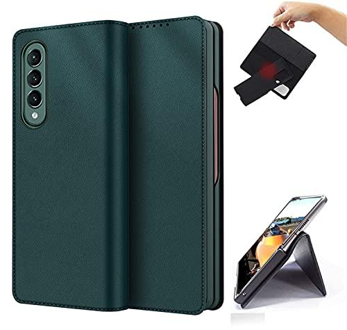 Zouzt Premium PU-Lederhülle für Samsung Galaxy Z Fold3 5G Wallet Flip Cover Hülle mit Kartensteckplatz TPU Stoßfest Kickstand Magnetisch Trennbare Hülle kompatibel mit Z Fold 3 2021 Grün