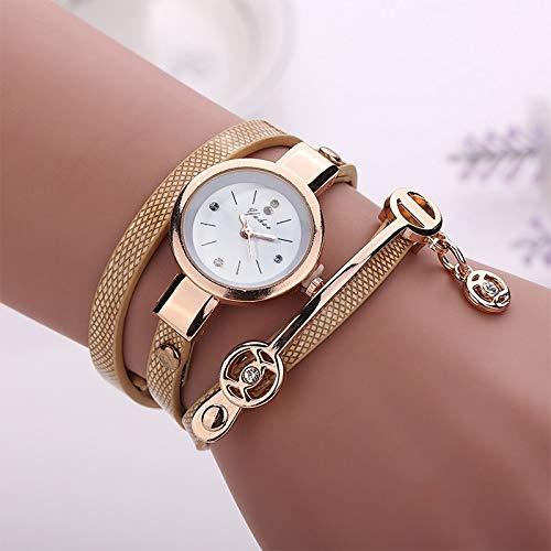 Dos Flor Reloj de Brazalete, Reloj de Cuarzo de señora, Relojes for niñas, Reloj de Cuarzo for Mujer, Reloj de Pulsera de Pulsera de Correa de Metal (Color : Gold)