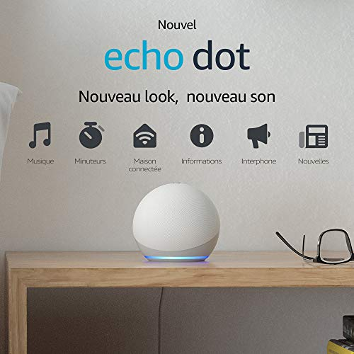 Nouvel Echo Dot (4e génération), Enceinte connectée avec Alexa, Blanc