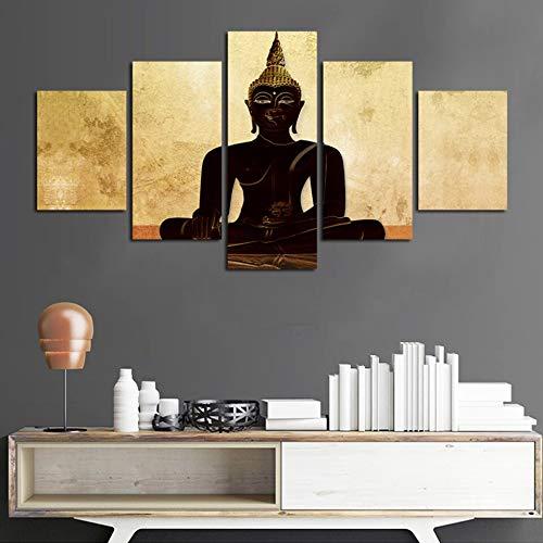 PEJHQY Poster Quadro Quadro Decorazioni per la casa Soggiorno 5 Pannelli Buddha Paesaggio Stampa HD Moderna Tela Pittura Muro Arte Modulare,Salvatore Fiume Stampa su Tela