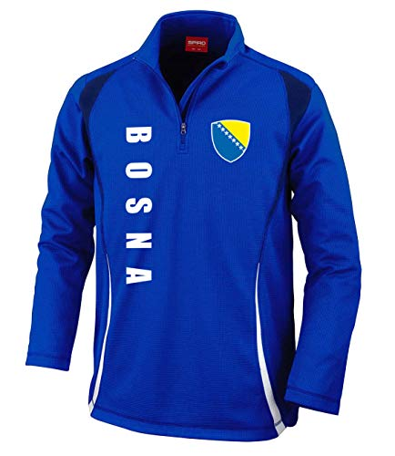 Aprom-Sports Bosnien Trainingstop - Sweat Fussball Sport - Blau (XL)