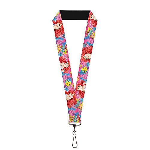 Buckle Down Unisex-Adult's Lanyard-1.0-Ariel/flounder/Fish Trio Poses Pinks, Multicolor, One-Size