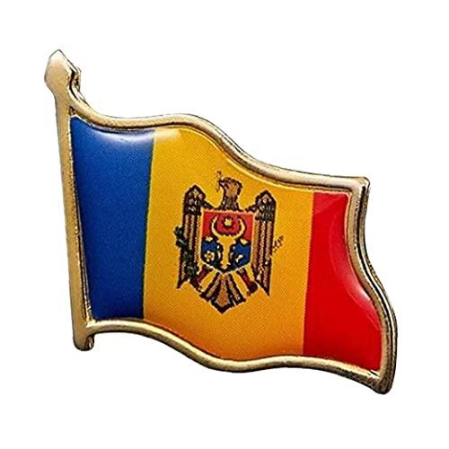 1pc República De Moldova Euro Flag Pin Pin De La Solapa De La Bandera De Metal Broche De La República De Euros De Moldavia Insignias Nacionales