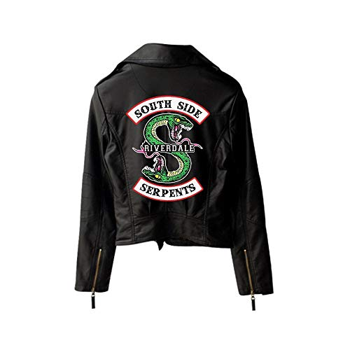 WLXFVNYBD New Riverdale Pu Gedrucktes Logo Southside Riverdale Serpents Jacken Damen Riverdale Serpents Streetwear Lederjacke Schwarz4, S