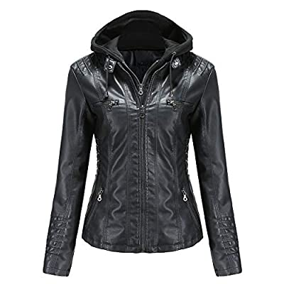 Tagoo Women's Faux Leather Jacket Motorcycle Coat for Biker with Removable Hooded Black