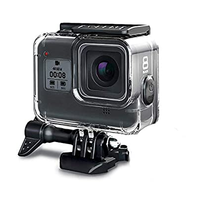 FINEST+ 60m Waterproof Housing Case for GoPro Hero 8 Black Diving Protective Housing Shell with Bracket Accessories for Go Pro Hero8 Action Came Rubber Material Pins Protect The Power Botton by FINEST+