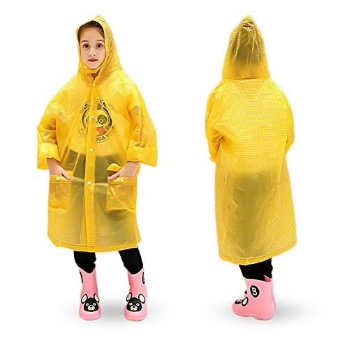 Skyzone Kids Regenmantel für Mädchen Jungen, tragbarer Eva Regenmantel Leichter Regenponcho mit Kapuze, wiederverwendbarer süßer Kinderregenmantel für Reisen im Freien Klettern Radfahren Wandern