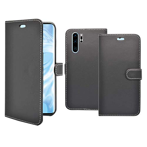 Carcasa Compatible Con Huawei P30 Pro Negro Libro Cartera Soporte Cuero De PU Tarjeta Ranura Bolsa Funda para Teléfono