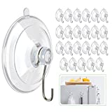 Hangerspace Suction Cup Hooks, 1.77 Inches Clear PVC Suction Cups with Metal Hooks Removable Small Suction Cups for Kitchen Bathroom Shower Wall Window Glass Door - 24 Packs