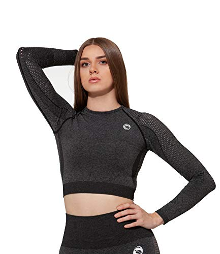 STARK SOUL Seamless Crop-Top Longsleeve für Damen | in schwarz-Melange, Größe: L