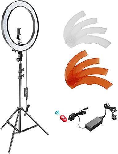 VDN 18-Inch Outer Dimmable LED Ring Light Kit with Light Stand Bluetooth Receiver Smartphone Holder Hot Shoe Adapter for Photo Studio Youtube Video Shooting(No Carry Bag)