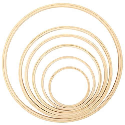 Xionghonglong 12 Stück Bambus Ringe Set,Holz Bambus Hoop,DIY Kranz Decor,traumfänger Ring,Innenring aus Bambus,Basteln Gross Holzringe zum Basteln,Holz Ringe für DIY Hochzeitskranz Dekor (A)