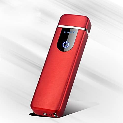 Encendedor de arco, encendedor eléctrico, a prueba de viento, USB de plasma sin llama recargable para vela Power Display Rojo