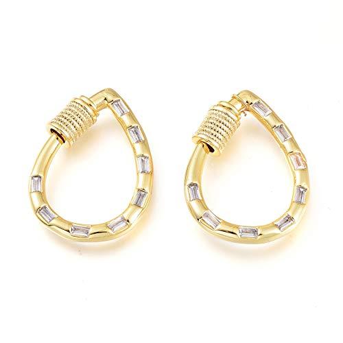 Cheriswelry 5 mosquetones de latón dorado con forma de gota de oro y circonitas cúbicas para hacer llaveros