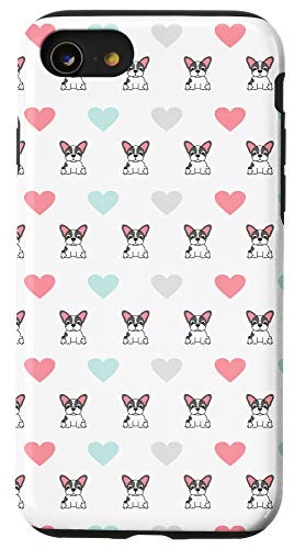 iPhone SE (2020) / 7 / 8 French Bulldog Heart Lover Cover Cute Animal Pattern Gift Case