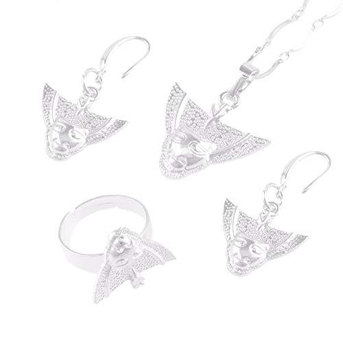 Silber Png Maske Halskette Ohrringe Ring Damen Accessoires Geschenk, Papua-Neuguinea Ethnische Waren # 112406B