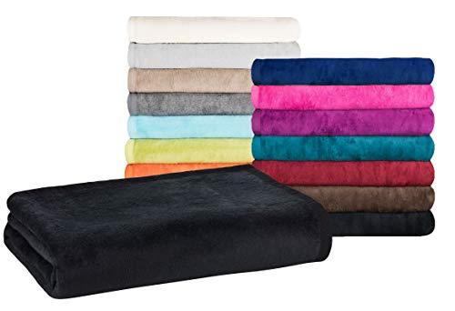 Moon - Classic Kuscheldecke 150x200 cm schwarz Wolldecke einfarbig, Pflegeleichte Baumwollmischung