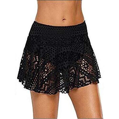 Kfnire Falda de Baño Mujer, Trajes de baño Bañador de natación Falda Bikini Encaje para Mujer Bragas Pantalones Cortos Pantalones de Natacion Mujer (2XL, Negro)