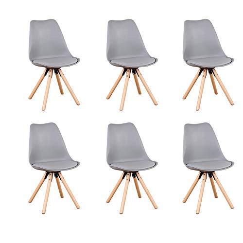Comfortableplus YT_6_GY - Sedia da sala da pranzo con gambe in legno di faggio, con imbottitura morbida, per sala da pranzo, soggiorno, camera da letto, cucina, gambe rotonde