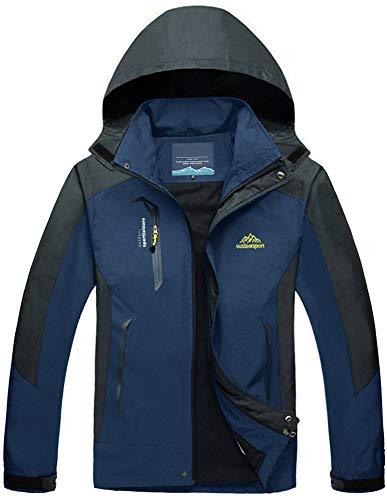 TACVASEN Herren Leichte Wasserdichte Softshell Jacke mit Abnehmbarer Kapuze, Marine Blau, DE L