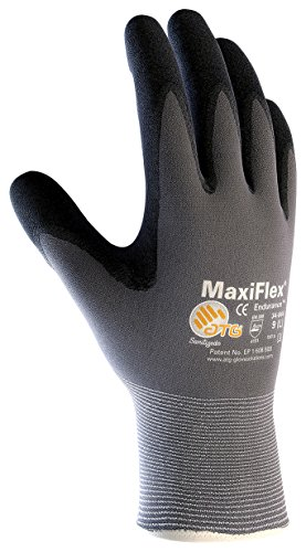 PIP Medium MaxiFlex Endurance by ATG Black Nitrile Palm And Finger Coated Work Gloves With Nylon And Lycra Liner And Continuous Knit Wrist