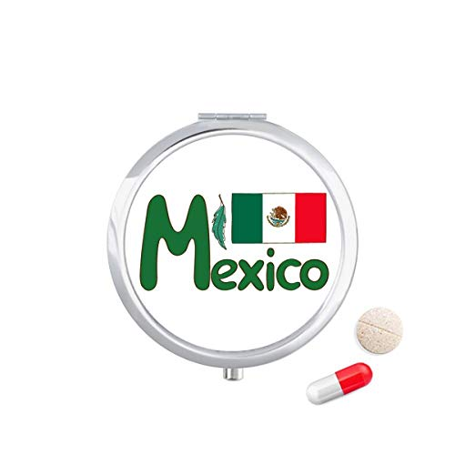 DIYthinker Mexico Nationale Vlag Groen Patroon Reizen Pocket Pill Case Medicine Drug Opbergdoos Dispenser Spiegel Gift