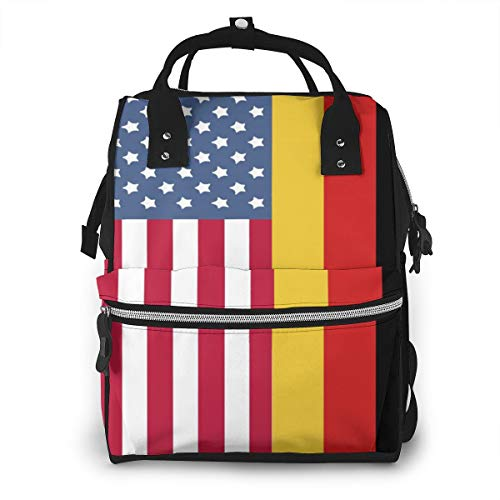 Germany American Flag Baby Diaper Bag Backpack,Multi-Function Waterproof Large Capacity Travel Nappy Bags For Mom