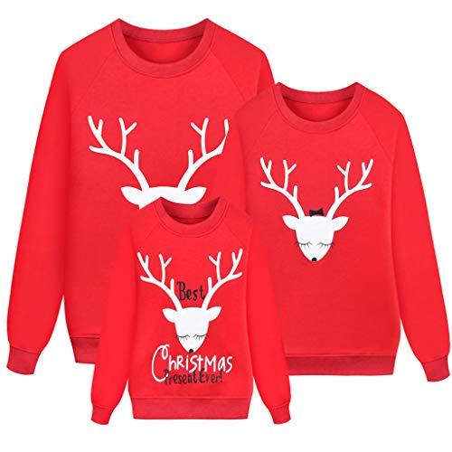 DAY8 Costumi Felpa Mamma e Figlia papà e Bambino Uguali Abbigliamento Abiti Famiglia Coordinati Top Magliette T-Shirt Mamma e Figlia Uguale Moda Manica Lunga (Rosso, Papa/L)